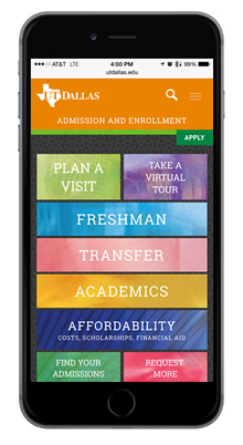 iPhone view of the new Enrollment website preview