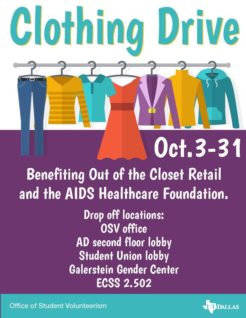 Clothing Drive, Oct. 3-31