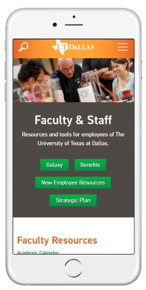 UT Dallas Faculty and Staff Website