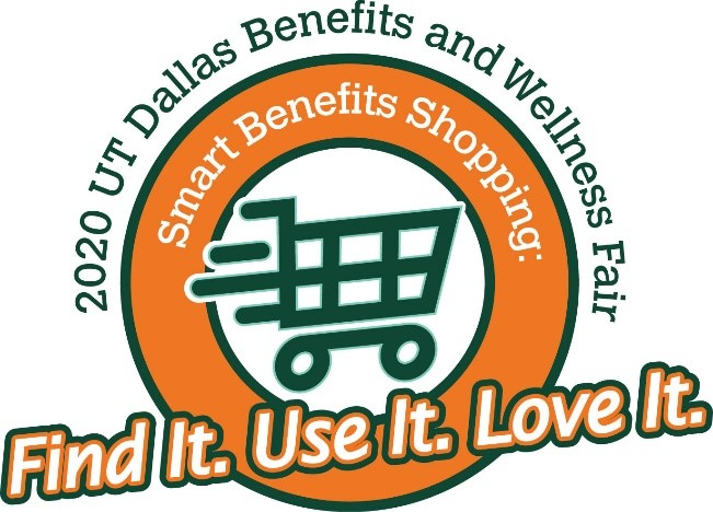 Logo for the benefits and wellness fair includes a green shopping cart inside an orange circle with the words Find It Use It Love It