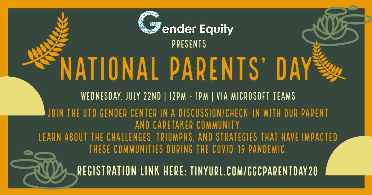 National Parents Day graphic includes information about the event. Details about the event can be found in the text after the headline Attend Virtual Parents day Event