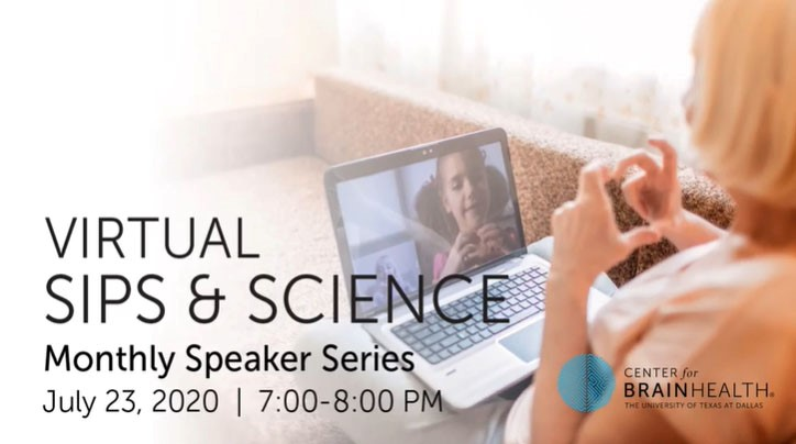 The graphic for Sips and Science shows a woman using her laptop to communicate with a child virtually. The graphic includes information about the monthly speaker series that are detailed in the text below.