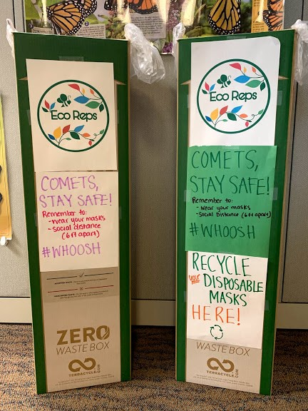Photo of used disposable mask recycling boxes
